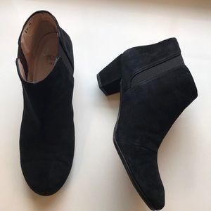 Amalfi black suede ankle bootie
